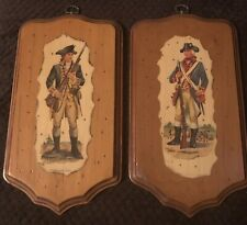 Lot of 2 Vintage Frederick Elmiger American Revolutionary War Wooden Plaques