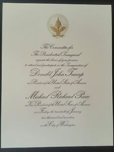 PRESIDENT DONALD J TRUMP 2017 INAUGURATION  ENGRAVED INVITATION NEW.