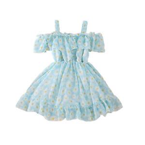 Little Girls Dresses Casual Soft Short Sleeves Flower Printed Off-shoulder Dress