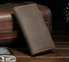 Vintage Men Genuine Leather Long wallet Clutch Purse Bifold Money Clips Coin Bag