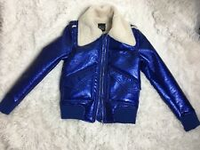 Belle Vere Vegan Electric Blue Faux Fur Aviator Bomber Jacket Pockets XS New