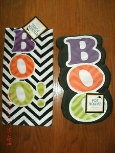 NEW Halloween BOO Chevron Kitchen Towel & Pot Holder Set black & white