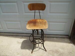 Vtg UHL Steel Toledo Adjustable Industrial Drafting Machinist Chair Stool