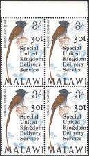 Malawi 1971 Paradise Flycatcher/Birds/Nature/Special Delivery o/p  4v blk n19326