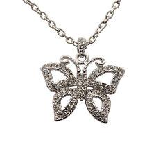 Schmetterling Anhänger Edelstahl Schmuck Kette Butterfly mit Zirkonia Kristallen