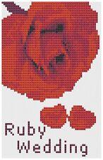RUBIS mariage rose Kit de cartes de point de croix par florashell