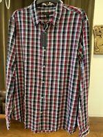 NWT John Varvatos Star USA Brand Men's Large Pearl Snap Front LS Plaid Shirt