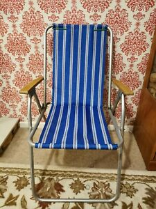Vintage Folding Garden Deck Chair Camping VW Staycation Striped Beach Camper