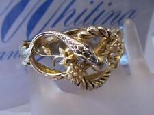 Vintage Whiting and Davis Co. Gold Tone Snake -Pearl Bangle Hinged Bracelet