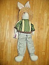 "30"" Stuffed Bunny Rabbit w/ Straw Hat & Sweater,  Easter Door Decor Hanging?"