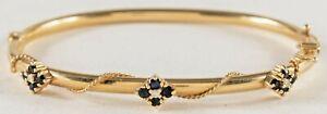 Antique Victorian Diamond and Sapphire 14K Gold Bangle Bracelet