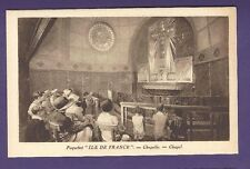SS Ile de France B&W Postcard - Chapel - French Line
