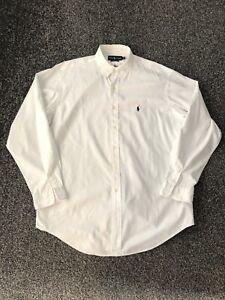 """Ralph Lauren Men's Long Sleeve White Shirt Size XXL 2XL 26"""" Ptp"""