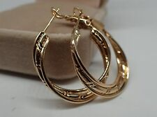 Ladies 14ct 9ct Yellow Gold Solid Womens Girls 30mm Large Hoop Huggies Earrings