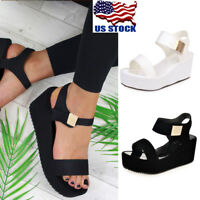 Women Wedges Middle Heel Summer Platform Sandals Open Toe Chunky Casual Shoes US