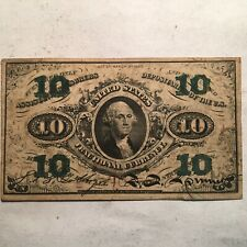 Series 1863 10 Cent Fractional Note Third Issue Green Back VF