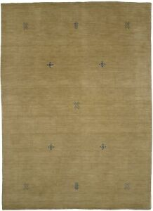 Hand-Loomed Contemporary Design 6X8 Solid Beige Indo-Gabbeh Oriental Rug Carpet