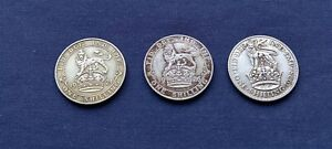 1921 1926 1928 ONE SHILLING 1/-S .500 SILVER BETTER GRADE - 3 COINS