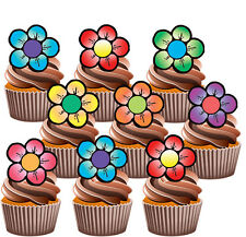 Colourful Flowers - Edible Stand Up Cup Cake Toppers Decorations (pack of 36)