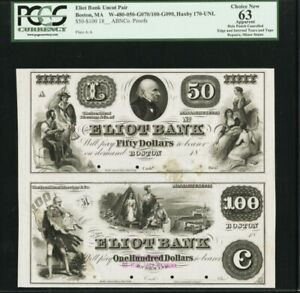 BOSTON MASS Eliot Bank PROOF UNCUT PAIR PMG 63. One Known!  $100 $50 Proof