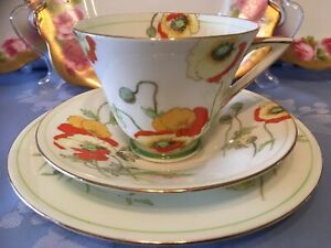 Royal Doulton Art Deco Tea Trio **Poppy** pattern immaculate Condition