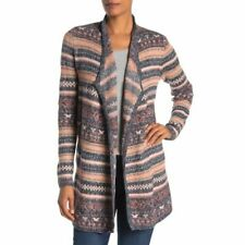 Lucky Brand Womens Jacquard Striped Cardigan Sweater Size Small New Red Blue