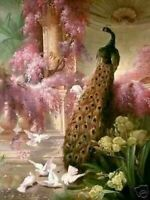 ZWPT1331  handmade painted color peacock and birds oil painting art on Canvas