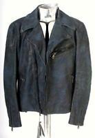 Ralph Lauren Noir Étiquette Cuir Camouflage Veste EU50 Bleu Moyen Camouflage