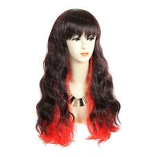 Wiwigs Long Pretty Dark Brown & Red Wavy Skin Top Ladies Wig