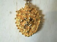 """Vintage Goldtone Lion Head Necklace Perfume Diffuser on 24"""" chain"""
