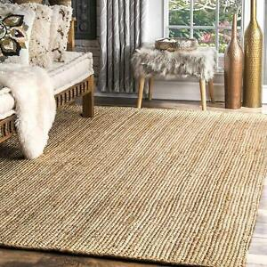 Handwoven Striped Jute Rug, Natural Fibres, Braided Reversible Carpet (4x6 Feet)