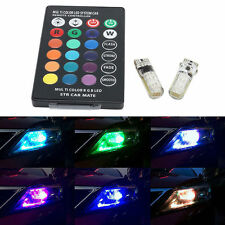 T10 W5W 5050 12SMD RGB LED Remote Control Multi Color Light Car Wedge Bulbs SP