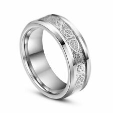 Silver Celtic Dragon Stainless Steel Titanium Men's Wedding Band Rings Size S