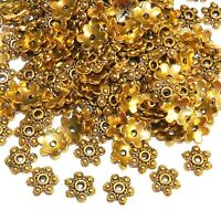 MX5197 Antiqued Gold 10mm 6-Petal Scalloped Flower Metal Bead Caps 100pc