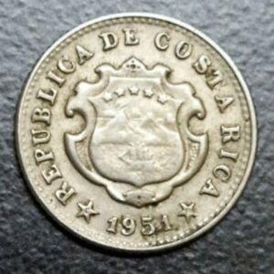 1951 COSTA RICA 5 CENTIMOS KM 184.1 HIGH GRADE KEY DATE SMALL COSTARICAN COIN