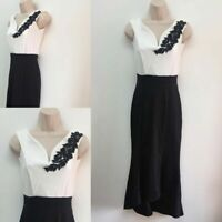 NEW RRP £36.99 QUIZ Black And Cream Bardot Dip Hem Dress                   (B51)