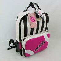 Betsey Johnson Backpack Black White Stripe Pink Football Womens Bag LBPLAY