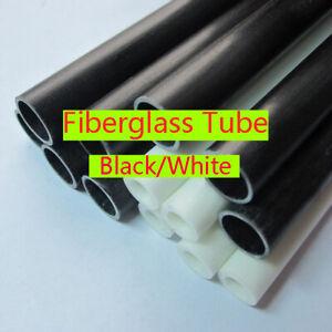 2Pcs 50cm Fiberglass Pipe Round Tube 4 5 6 8 10 12 16 20 25mm Black / White
