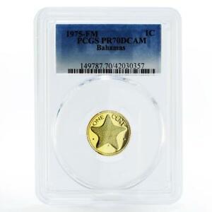 Bahamas 1 cent Sea Star PR70 PCGS proof brass coin 1975