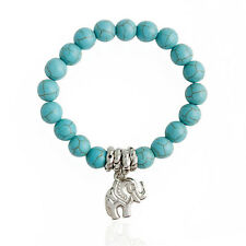 New Natural Blue Turquoise Stone Bead Tibet Silver Plated Elephant Bracelet HIGH