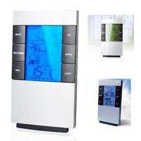 Home Digital LCD Gauge Clock Thermometer Hygrometer Humidity Meter POP