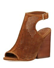 TORY BURCH Jesse Size 11M Open Toe Sandals Royal Tan Perforated suede heels 111