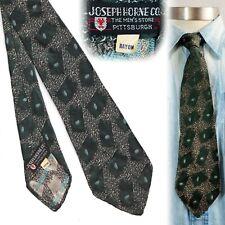 1930s Green Organic Brocade Rayon Vintage Necktie Art Deco Swing Tie