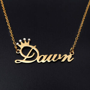 Name Necklace Crown Name Necklace Personalised Name Necklace Birthday Gift