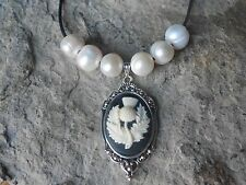 SCOTTISH THISTLE CAMEO PENDANT NECKLACE WITH GENUINE FRESHWATER PEARLS -SCOTLAND