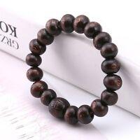 Buddha Wood Beads Meditation Bracelet Elastic Stretch Tibet Monk Dark Brown