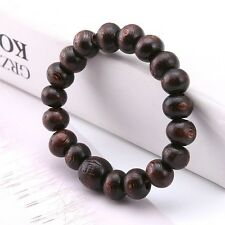 Buddha Wood Beads Meditation Bracelet Elastic Stretch Tibet Monk Dark Brown