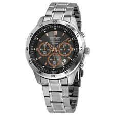 Seiko Chronograph Dark Grey Dial Stainless Steel Men's Watch SKS521