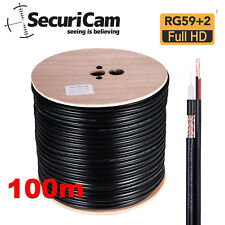 Securicam ® 100 M CCTV Cavo Coassiale Bobina e di potenza RG59+2 FUCILE NERO RAME PIOMBO