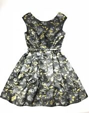 Eliza J Womens Size 4 Dress Black Gold Silver Flare Cocktail (I)